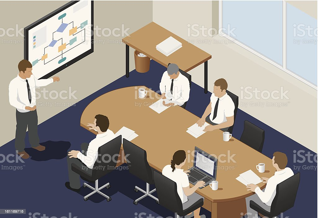 Team Business meeting/Conference in an office royalty-free stock vector art
