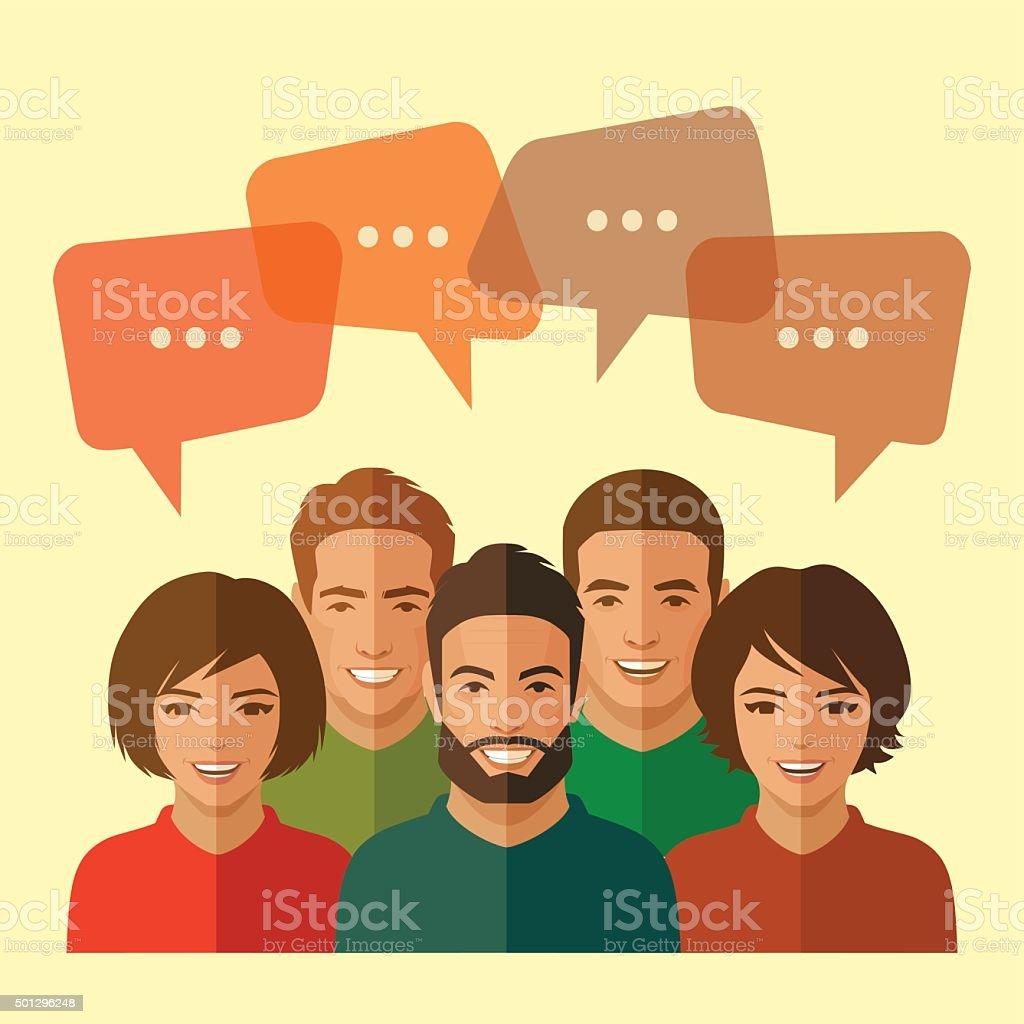 team, chat dialog vector art illustration