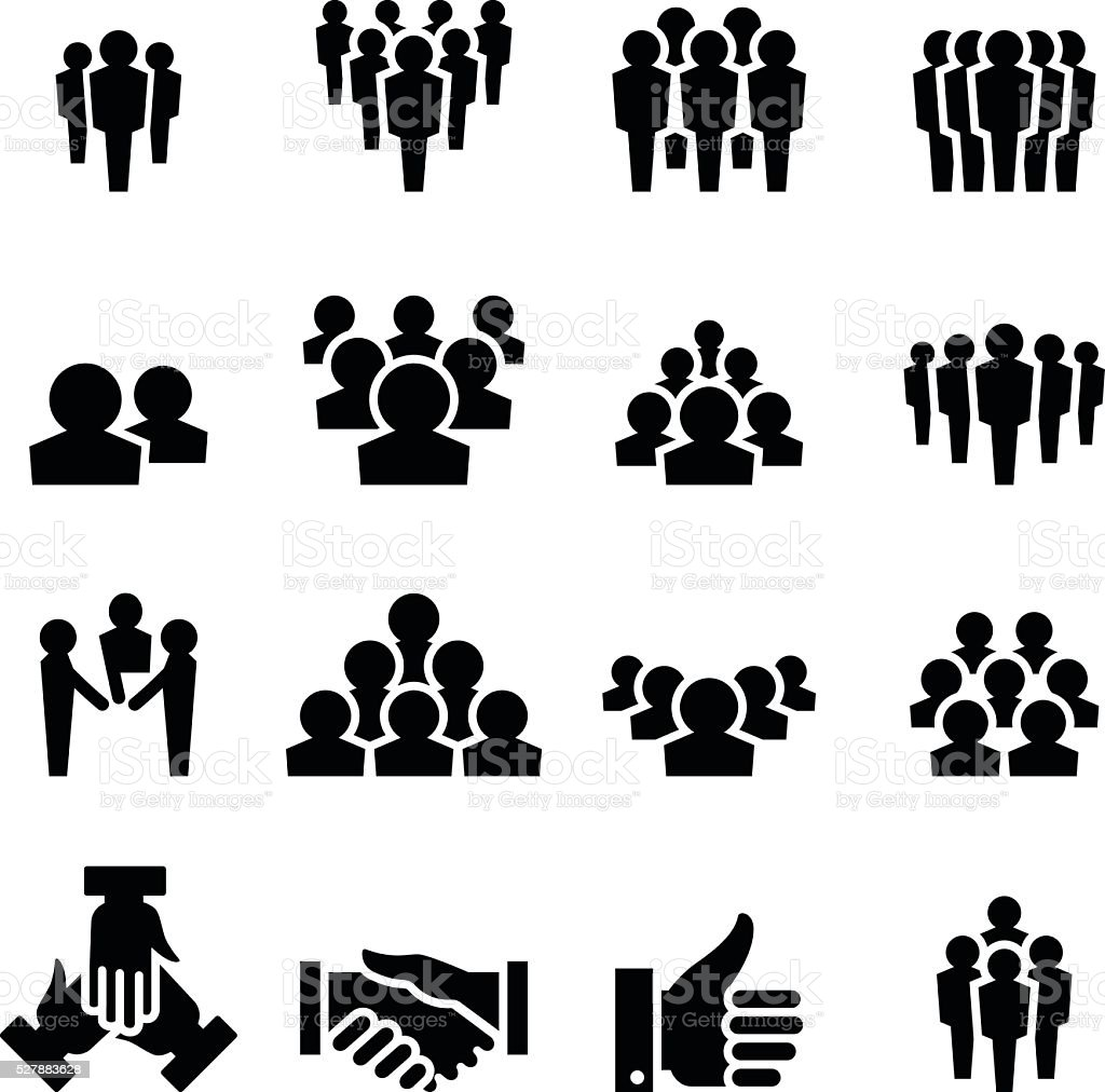 team icon set vector art illustration
