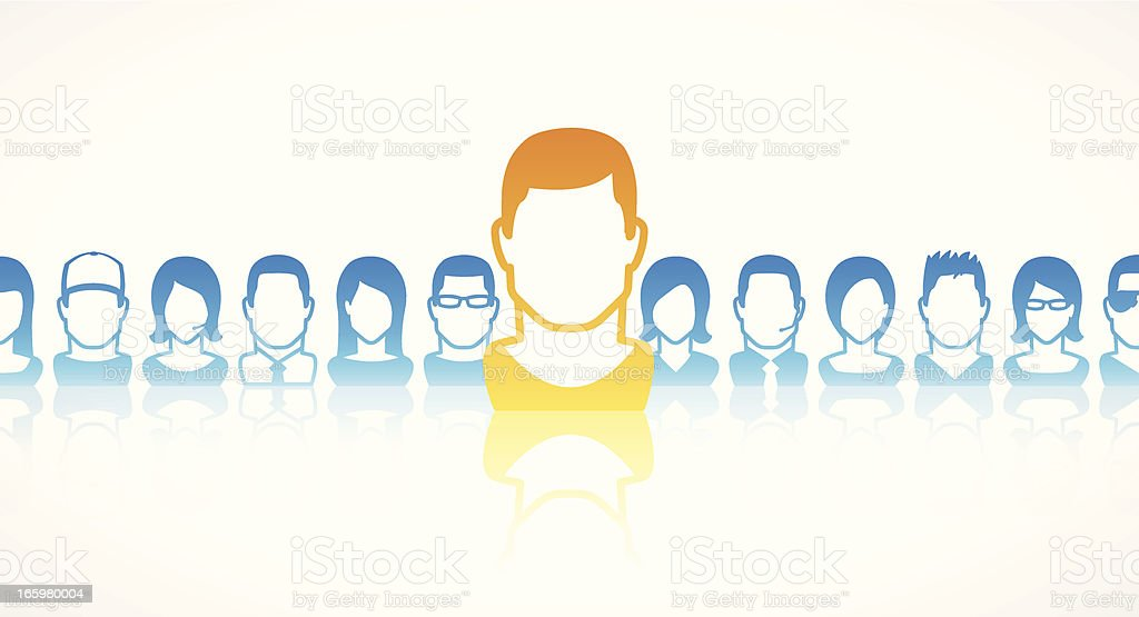 Team leader being shown in yellow in front of blue team royalty-free stock vector art