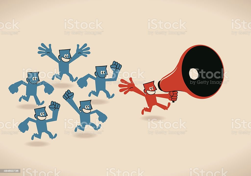Team leader running with a megaphone, followers cheering and shouting vector art illustration