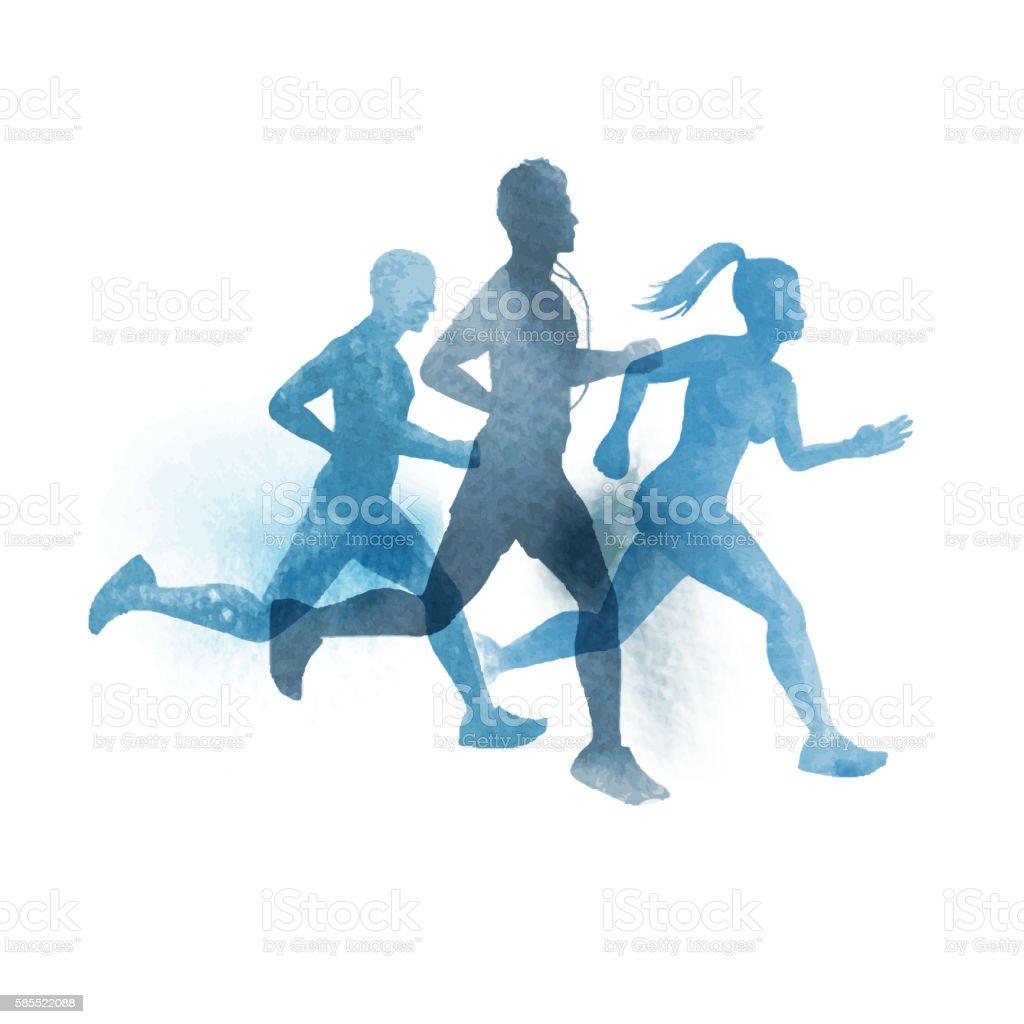 team of active runners vector art illustration