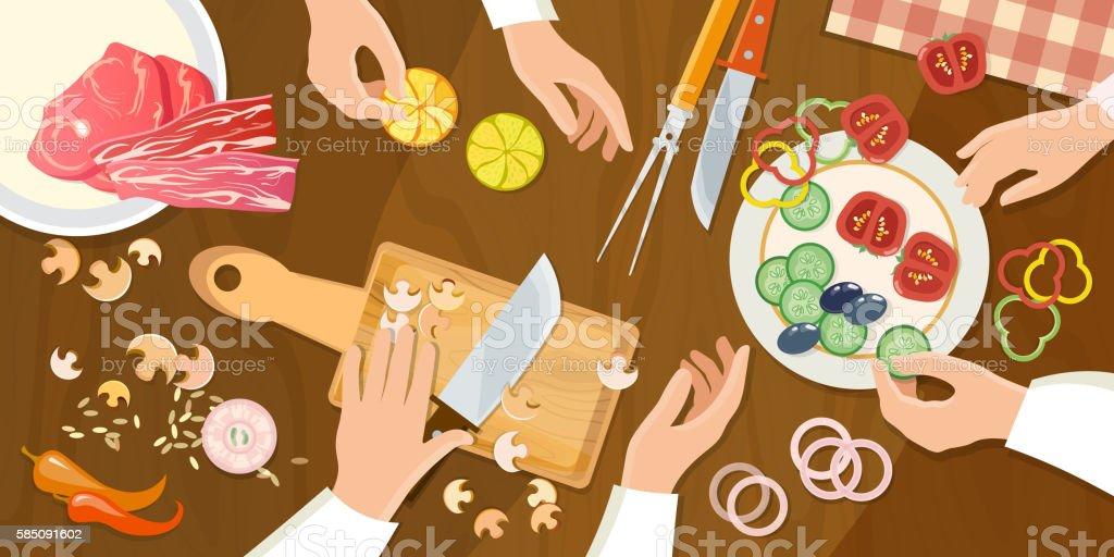 Team of chefs preparing food top view cartoon vector art illustration