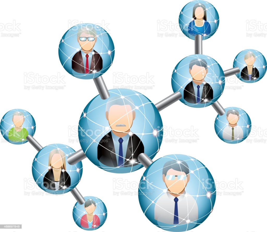 Team of network vector art illustration