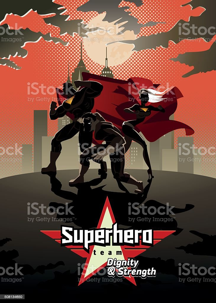 Team of superheroes, posing in front of a light. vector art illustration