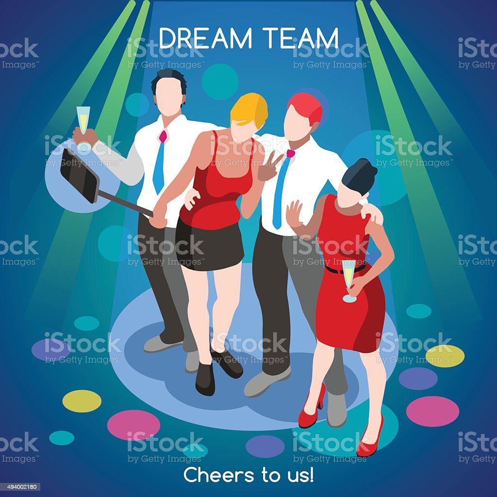 Team Party 02 People Isometric vector art illustration