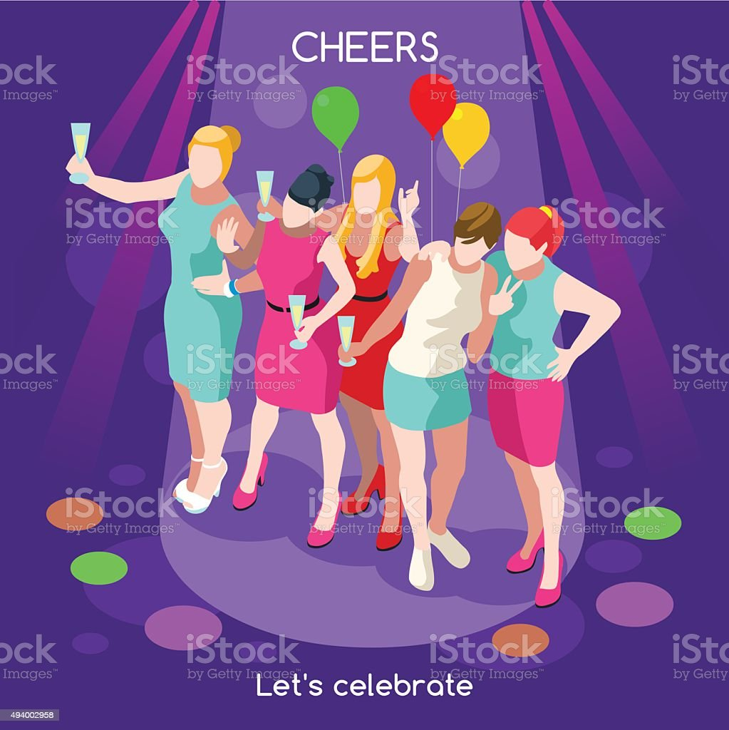 Team Party 07 People Isometric vector art illustration
