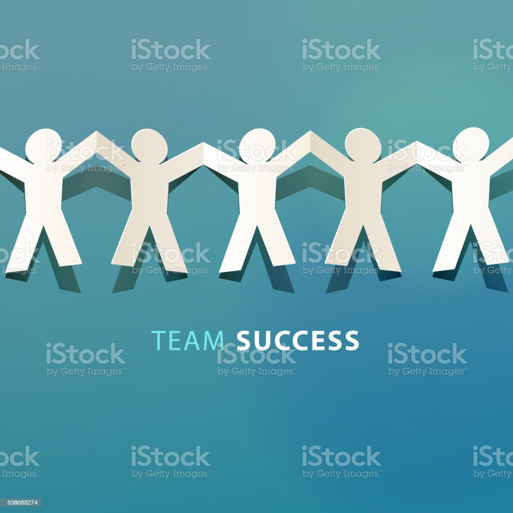 Team Success Concept Paper Cut vector art illustration