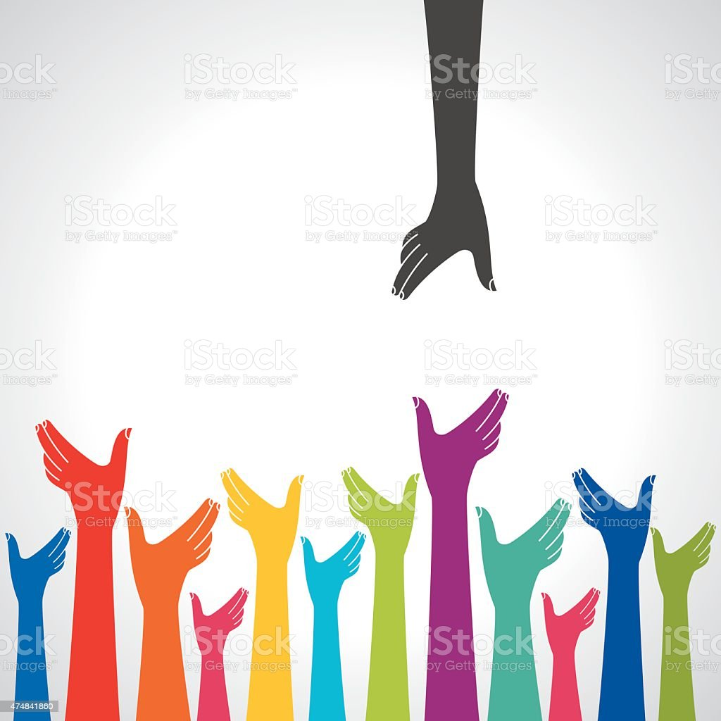 Team symbol. Multicolored hands vector art illustration