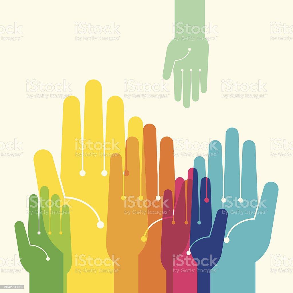 Team symbol. Multicolored hands vector art illustration