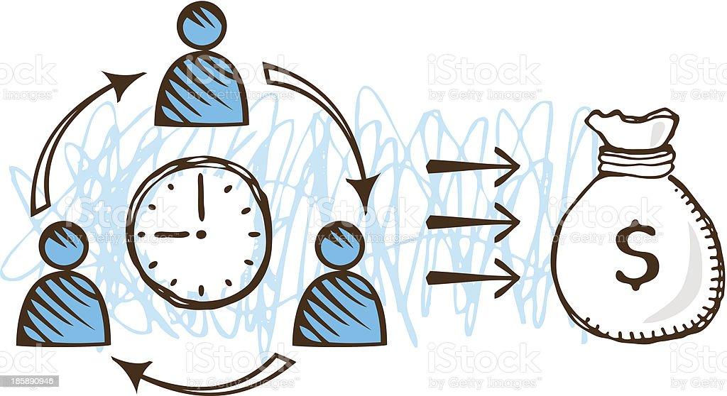 Team Time Profit royalty-free stock vector art