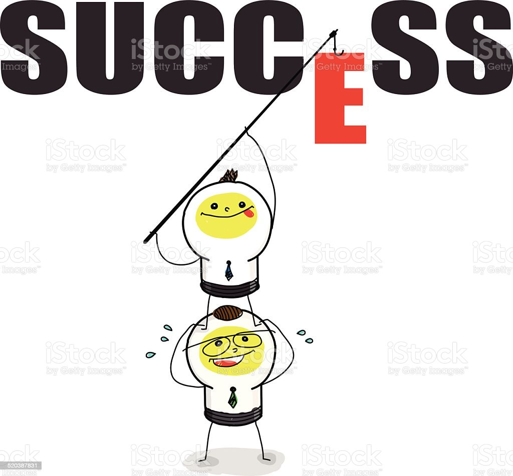 Team work for SUCCESS. vector art illustration
