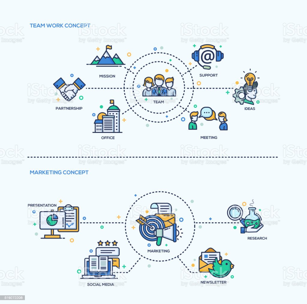 Team Work, Marketing  Icons Business Concept Compositions Set vector art illustration