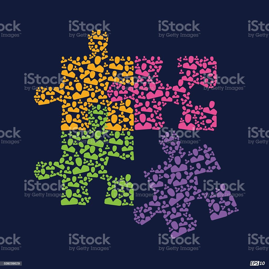 Team Work puzzle illustration or Great Team vector art illustration