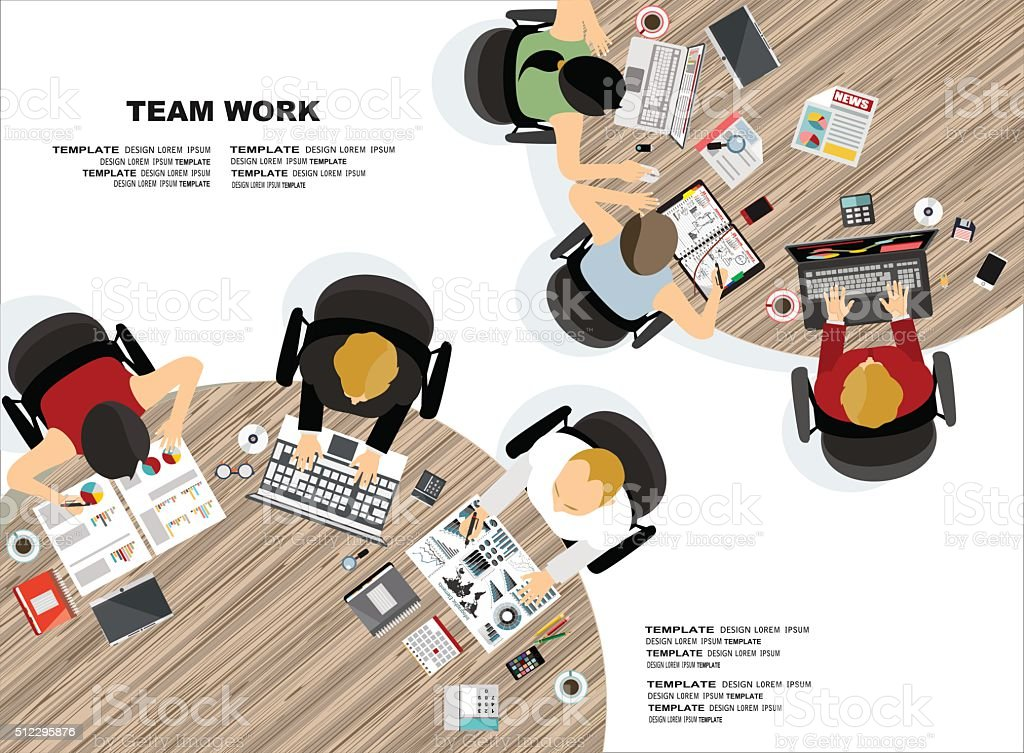 Team work vector art illustration