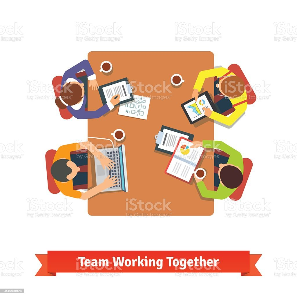 Team working on a project in conference room vector art illustration