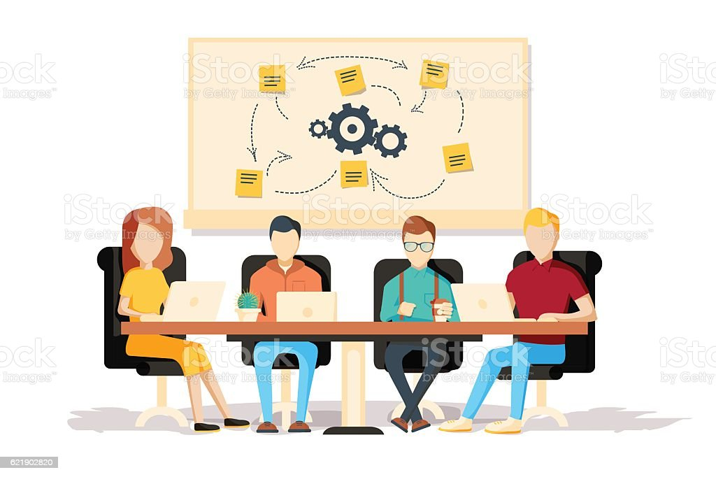 Team working together on a big IT startup business. vector art illustration