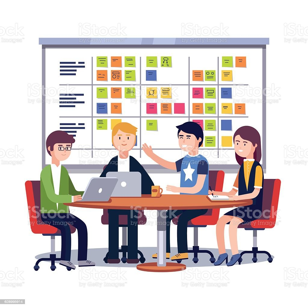 Team working together on a big IT startup business vector art illustration