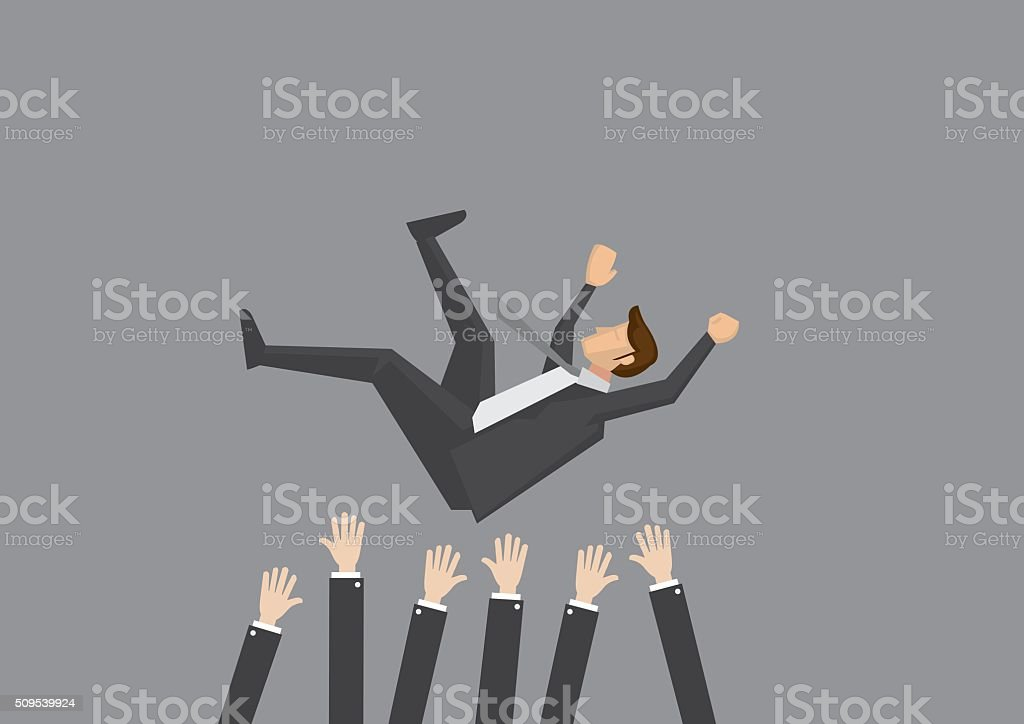 Teammates Toss Businessman in the air for celebration vector art illustration