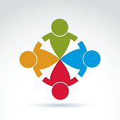 Teamwork and business team and friendship icon, social group