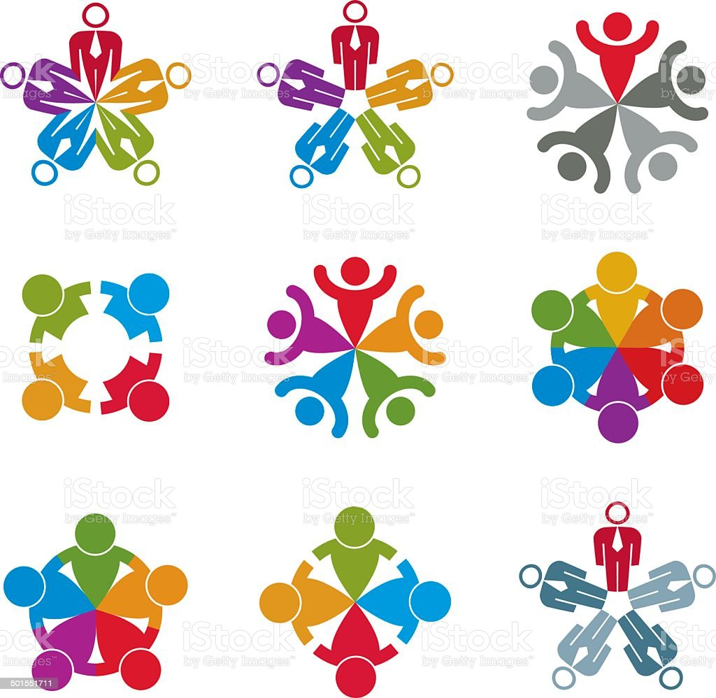 Teamwork and business team icons set vector art illustration