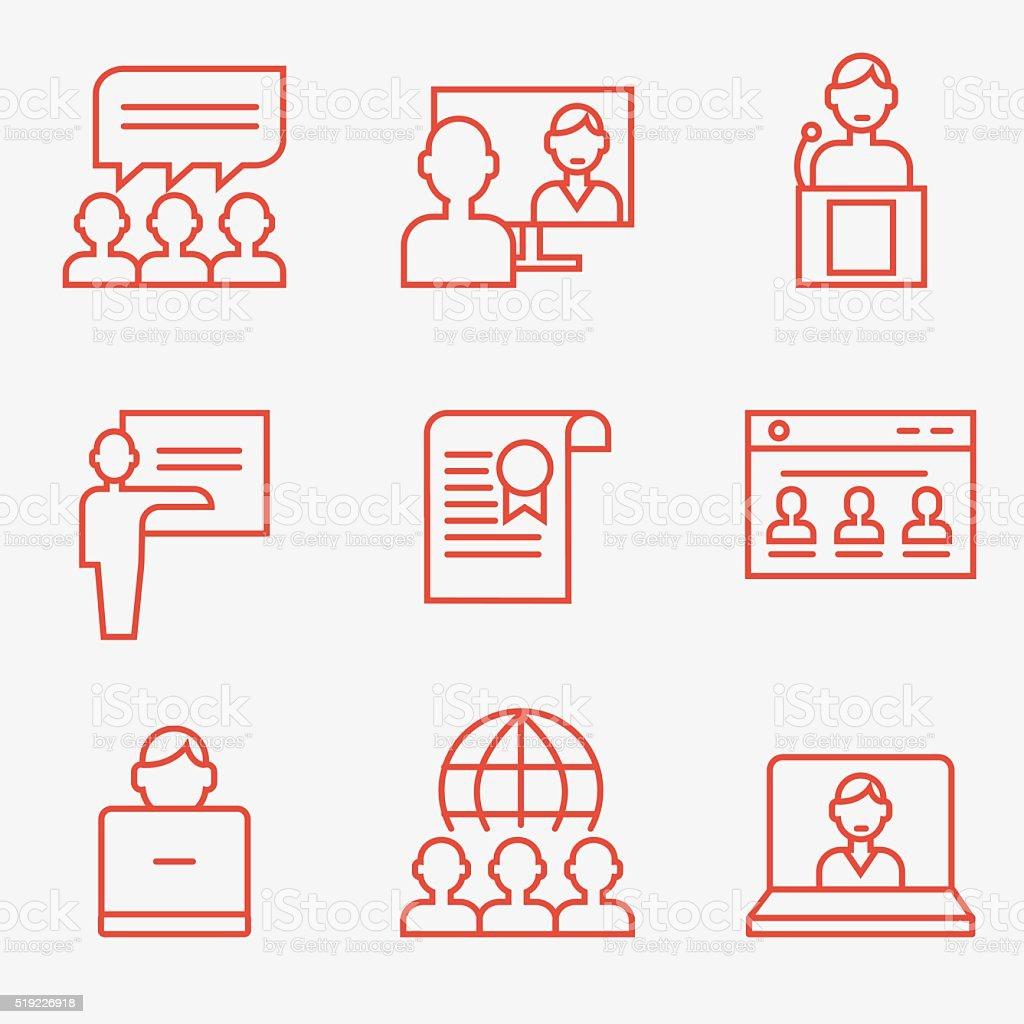 Teamwork and communication icons vector art illustration