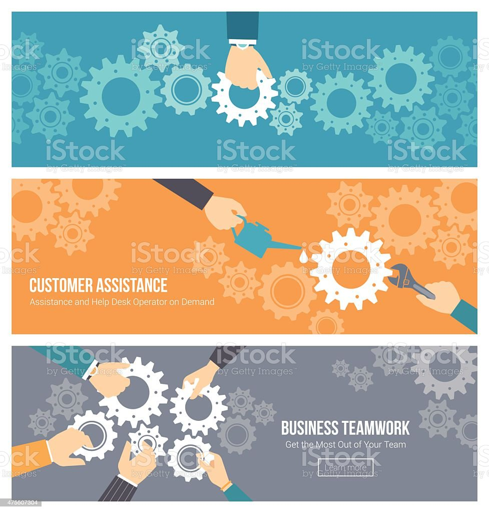 Teamwork and support banners set vector art illustration
