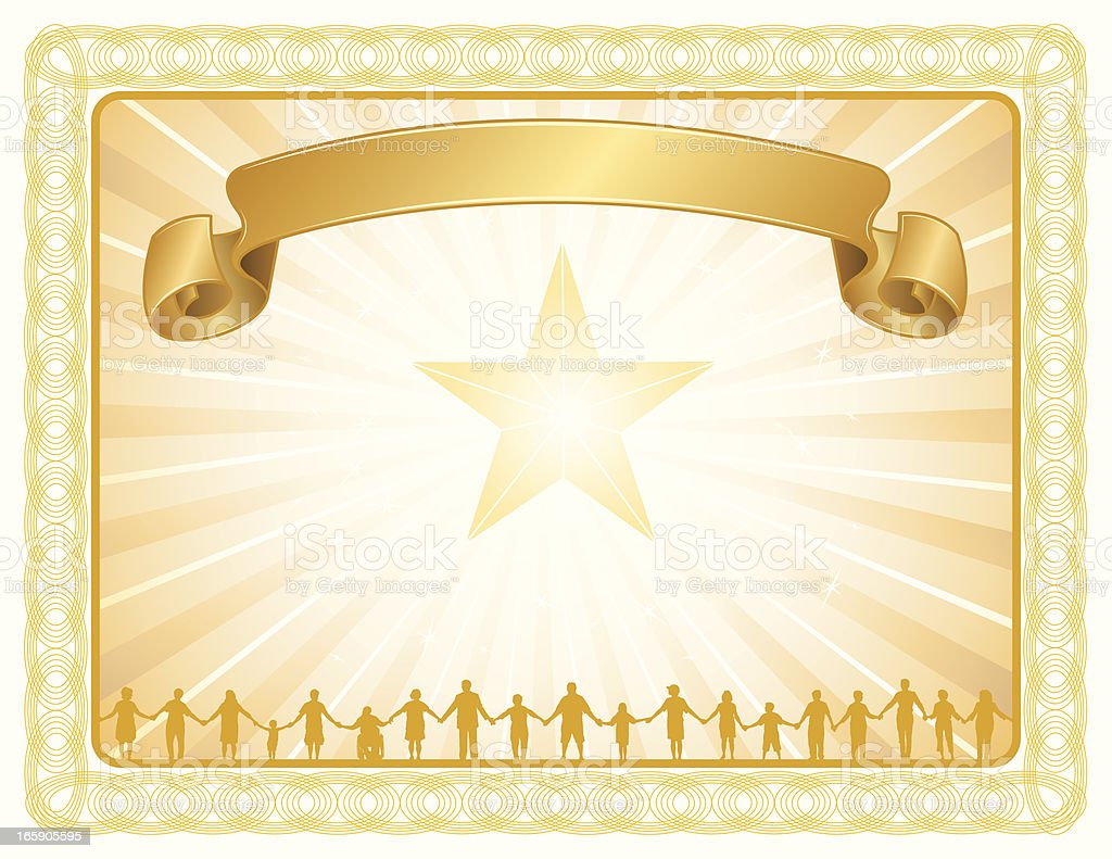 Teamwork Award Certificate and Banner - Community Background royalty-free stock vector art