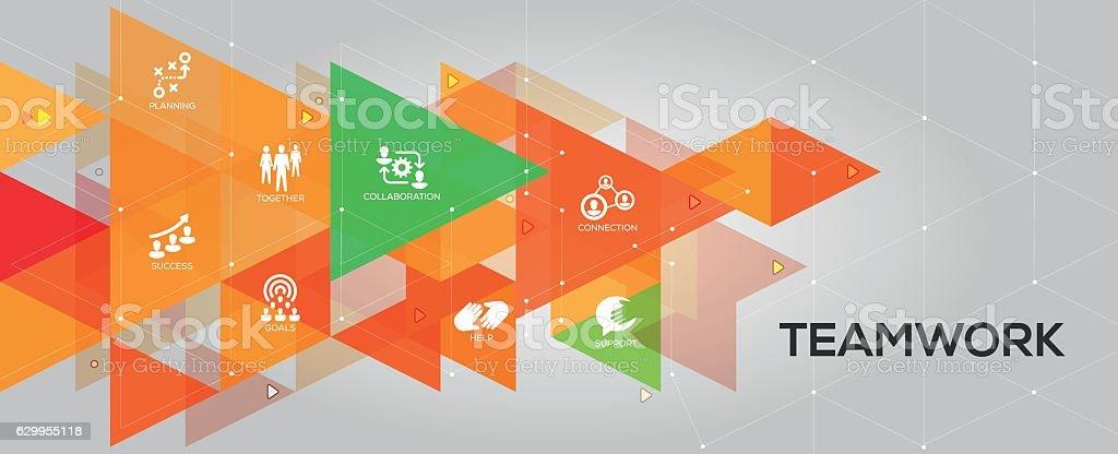 Teamwork banner and icons vector art illustration