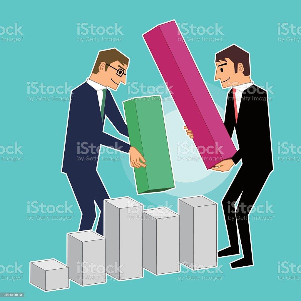 Teamwork Bar Chart royalty-free stock vector art