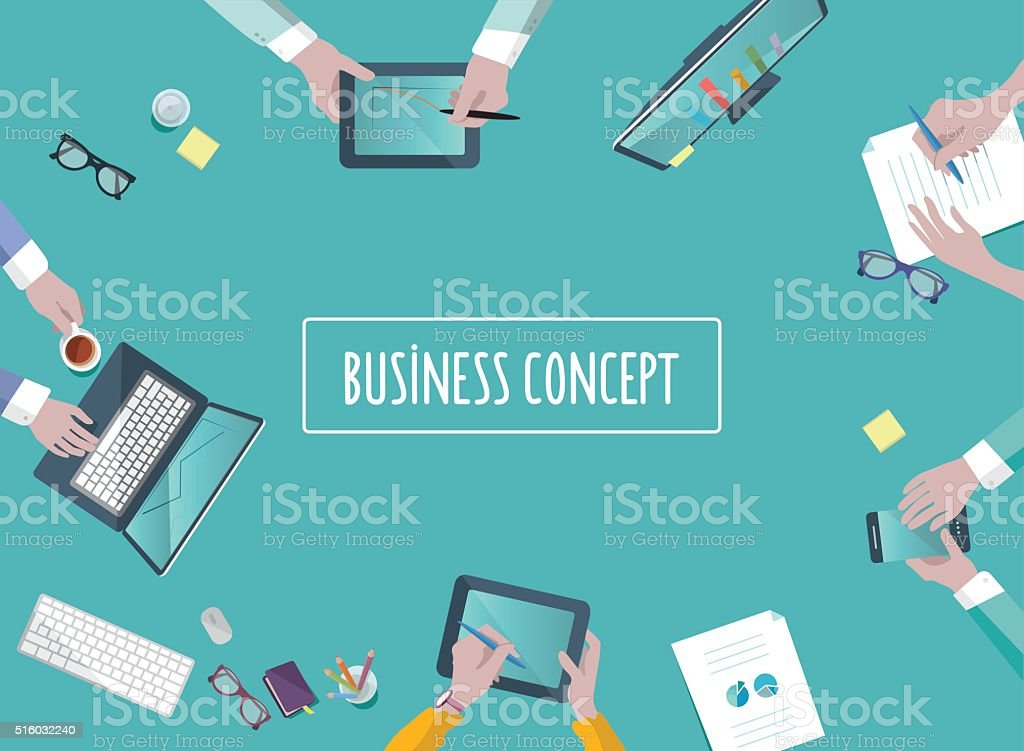teamwork business concept on table in flat style vector art illustration
