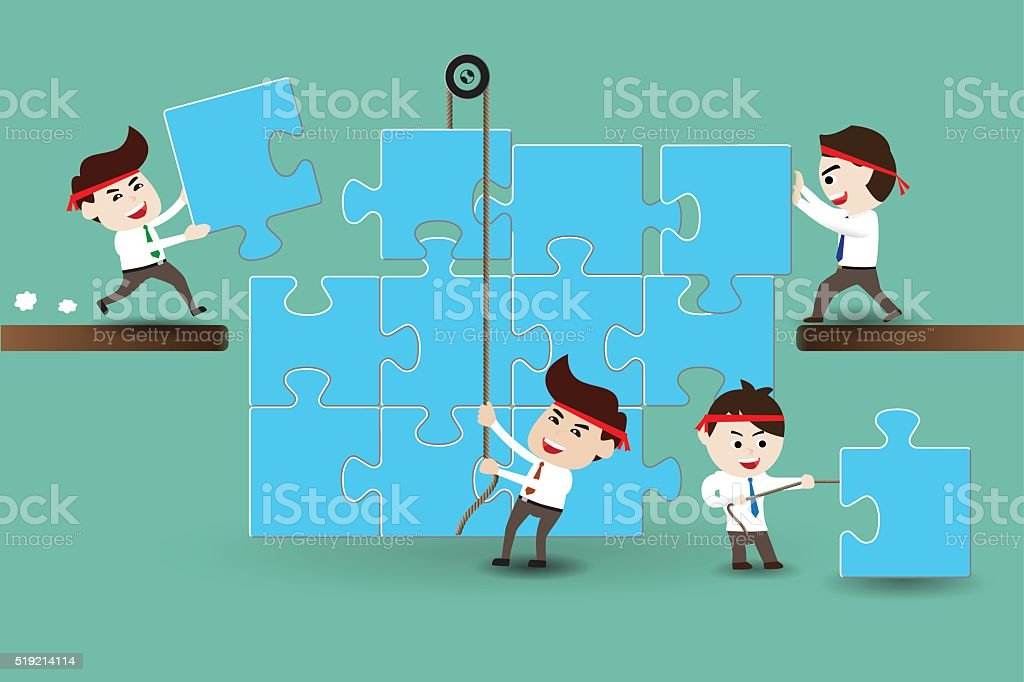 Teamwork, businessmen assembling pieces of a puzzle vector art illustration