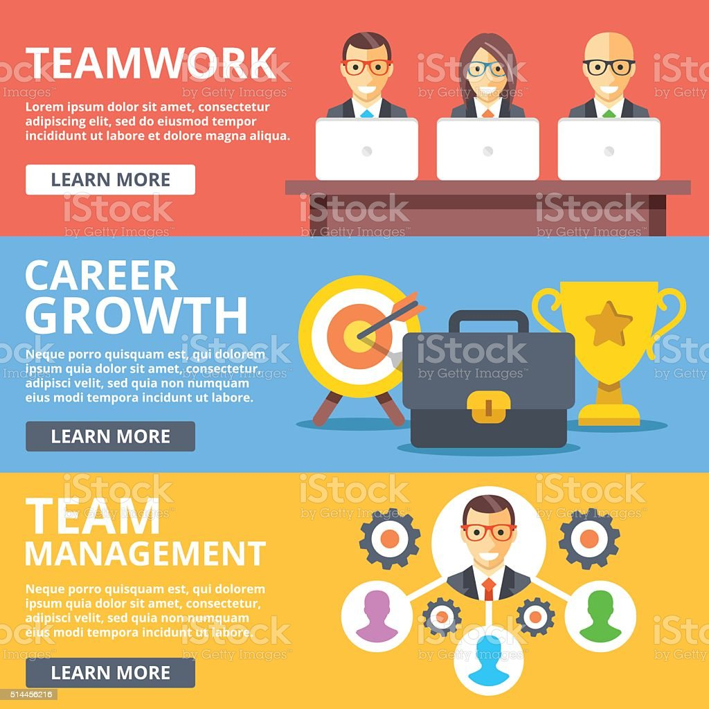 Teamwork, career growth, team management flat illustration set vector art illustration