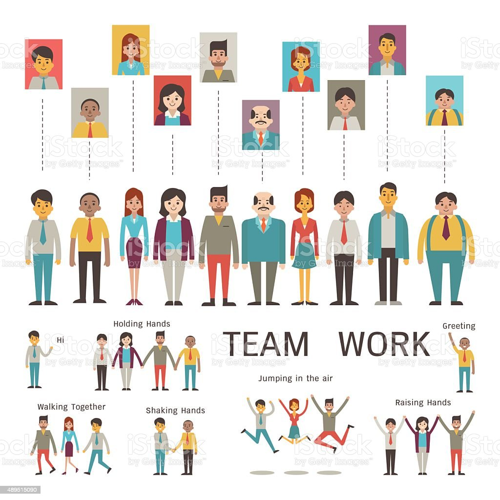 Teamwork character vector art illustration