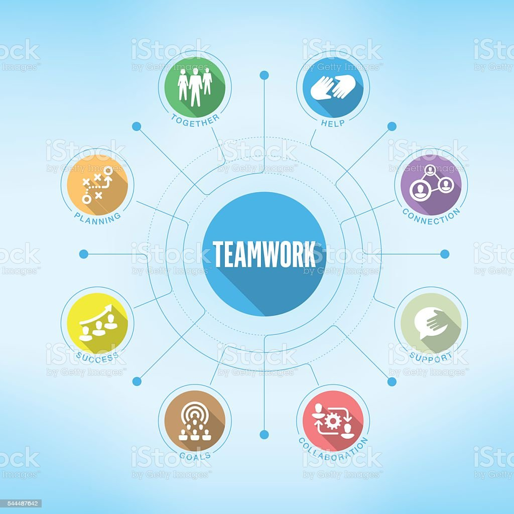 Teamwork chart with keywords and icons vector art illustration