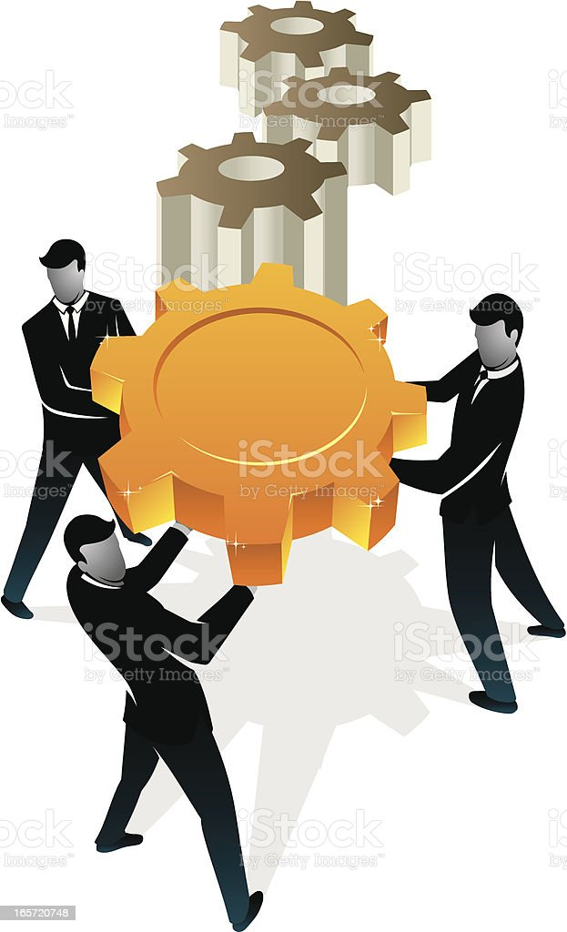 Teamwork Cogs royalty-free stock vector art