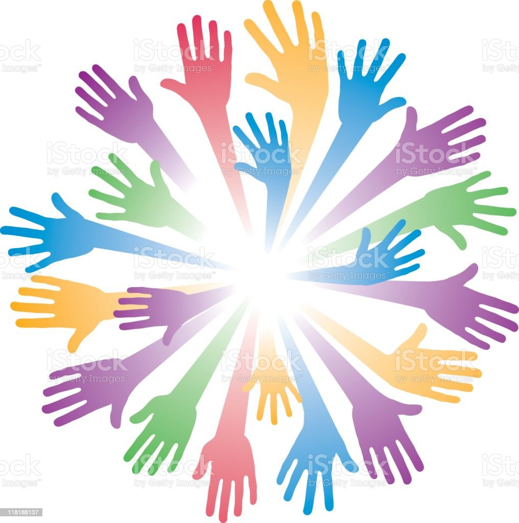 Teamwork Colorful Hands royalty-free stock vector art