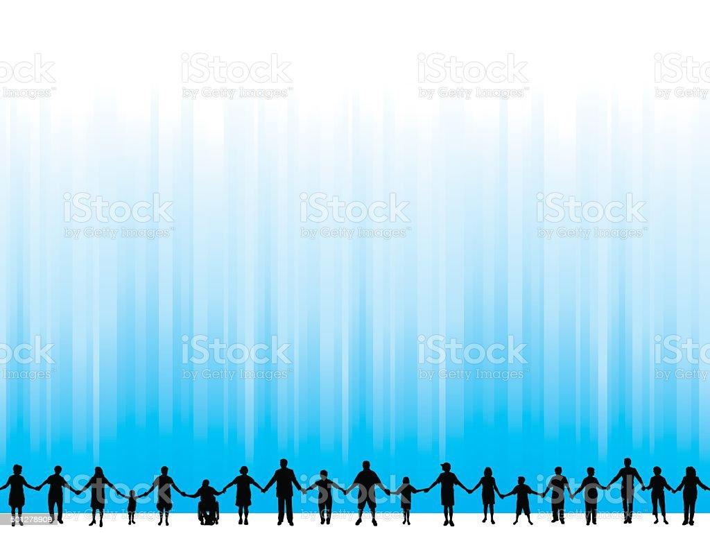 Teamwork, Community, Holding Hands Background vector art illustration