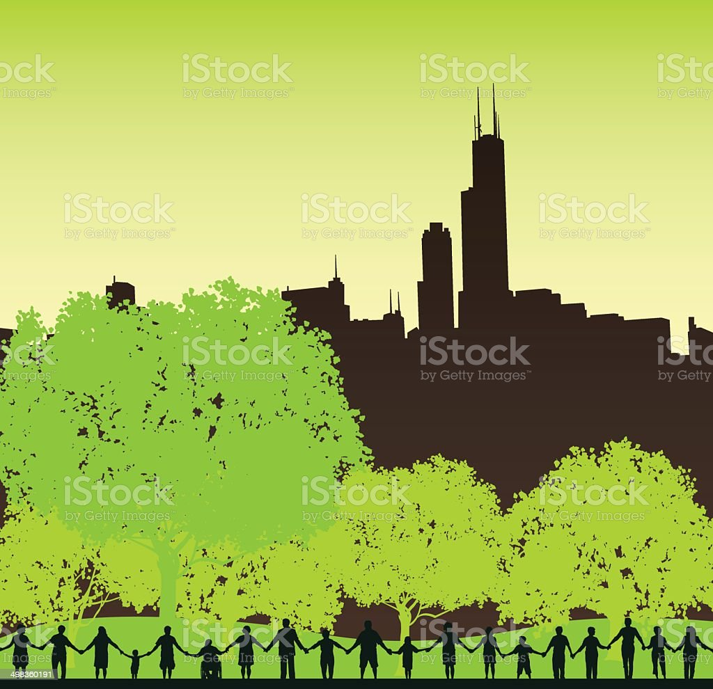 Teamwork, Community, Holding Hands City Background vector art illustration