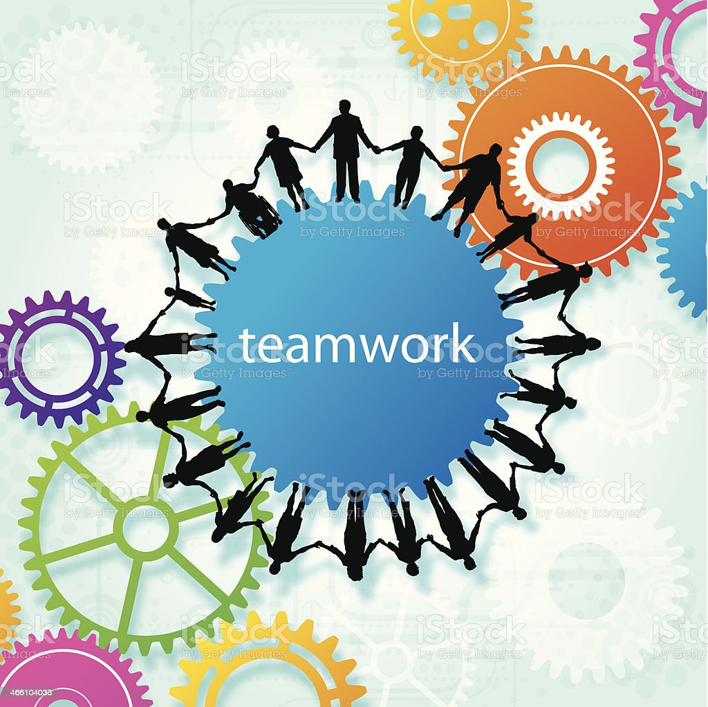 Teamwork, Community, Holding Hands, Gear Background vector art illustration