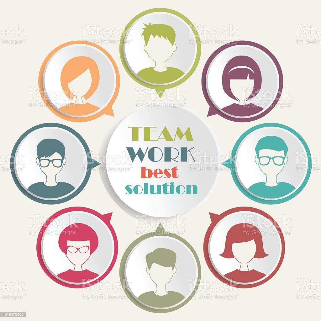 teamwork concept with people icons vector art illustration