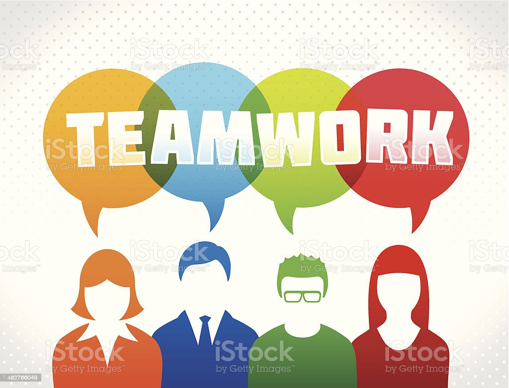 Teamwork concept with text royalty-free stock vector art