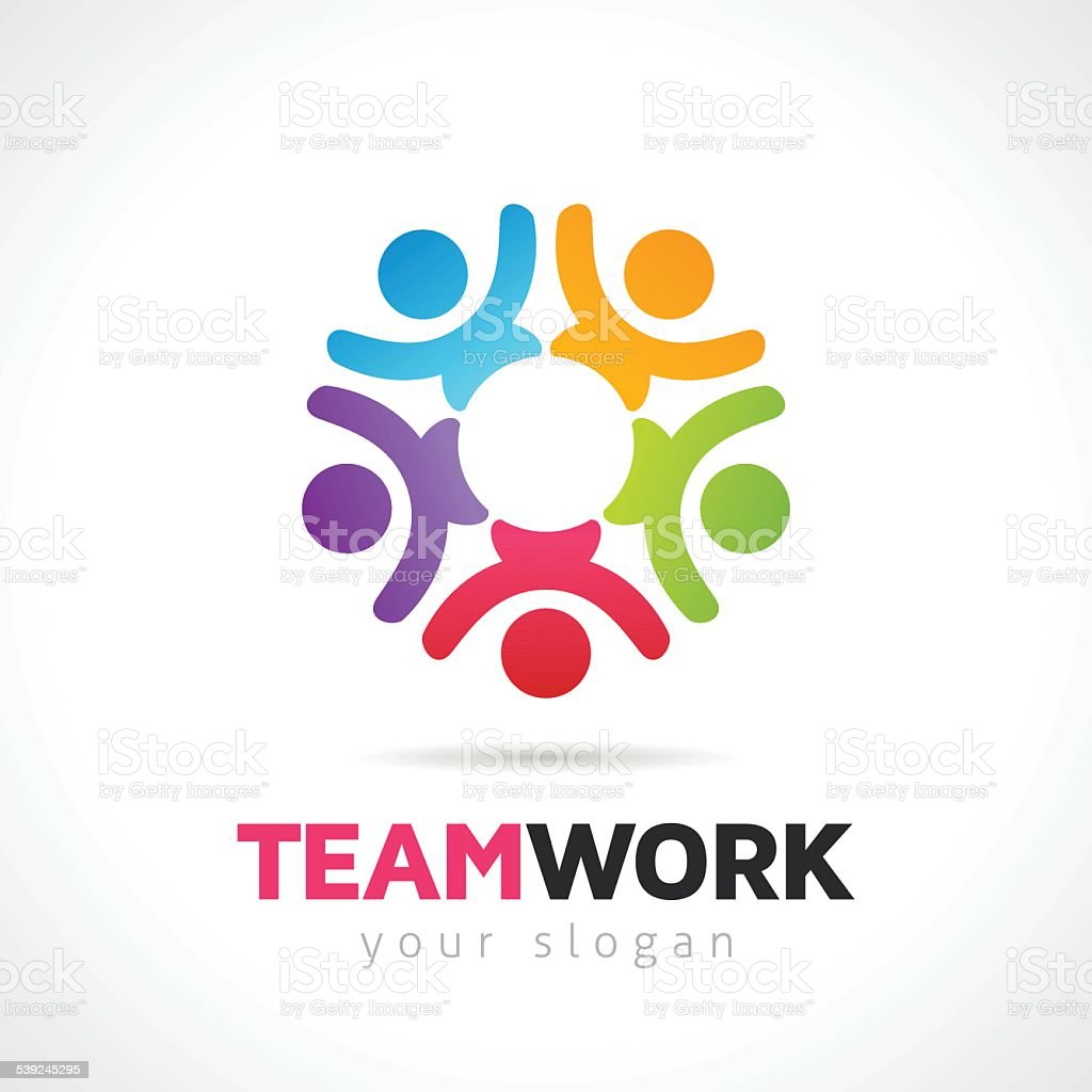 Teamwork Concept With Vector People Symbols vector art illustration