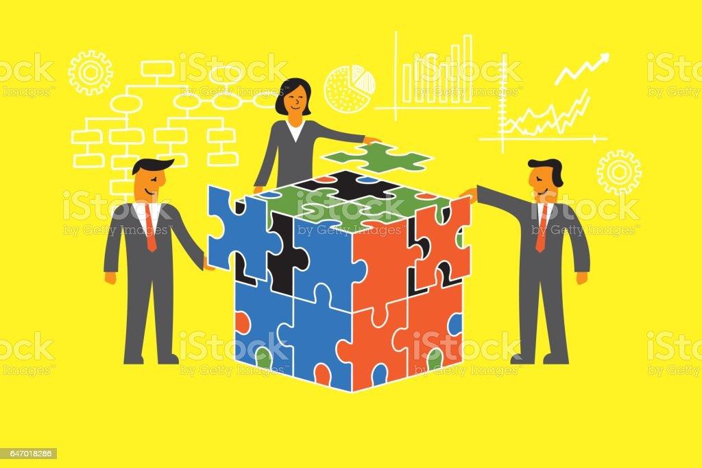 Teamwork cooperation concept vector art illustration