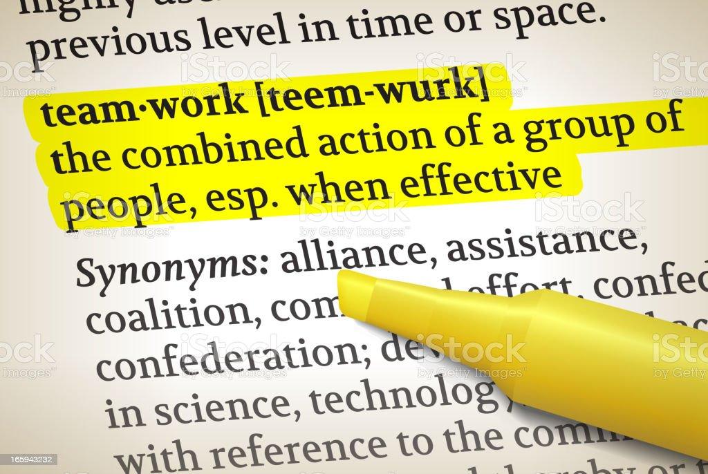 Teamwork dictionary definition royalty free vector illustration vector art illustration