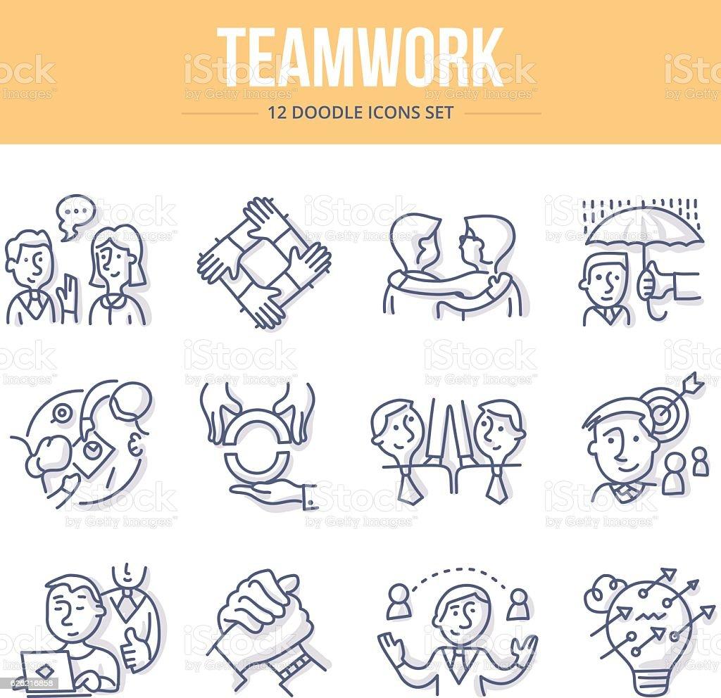 Teamwork Doodle Icons vector art illustration