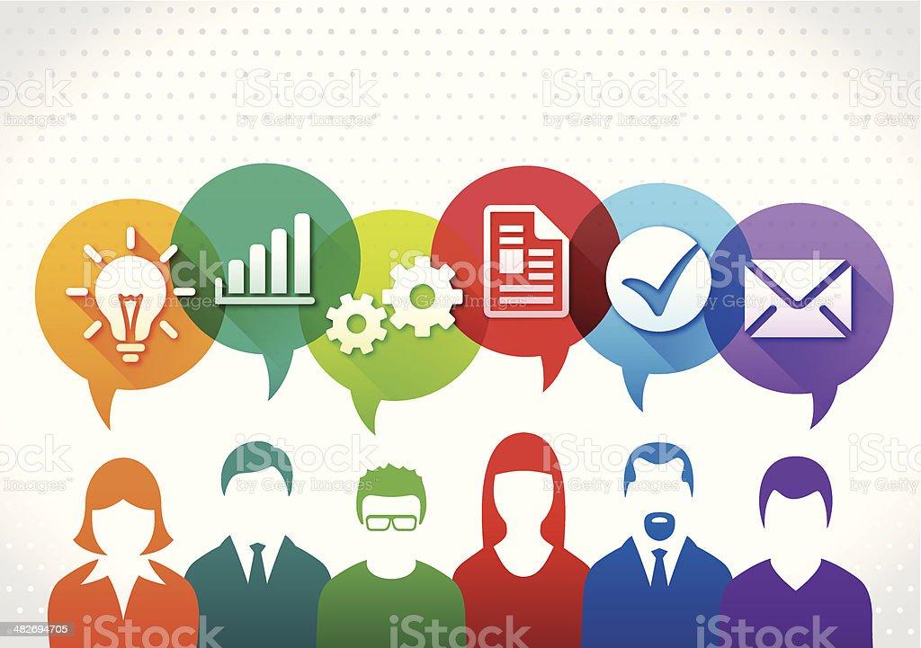 Teamwork expertise concept vector art illustration