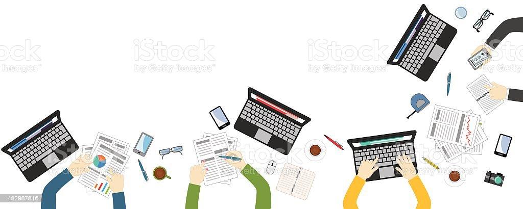 Teamwork for office desk - vektor flat style vector art illustration