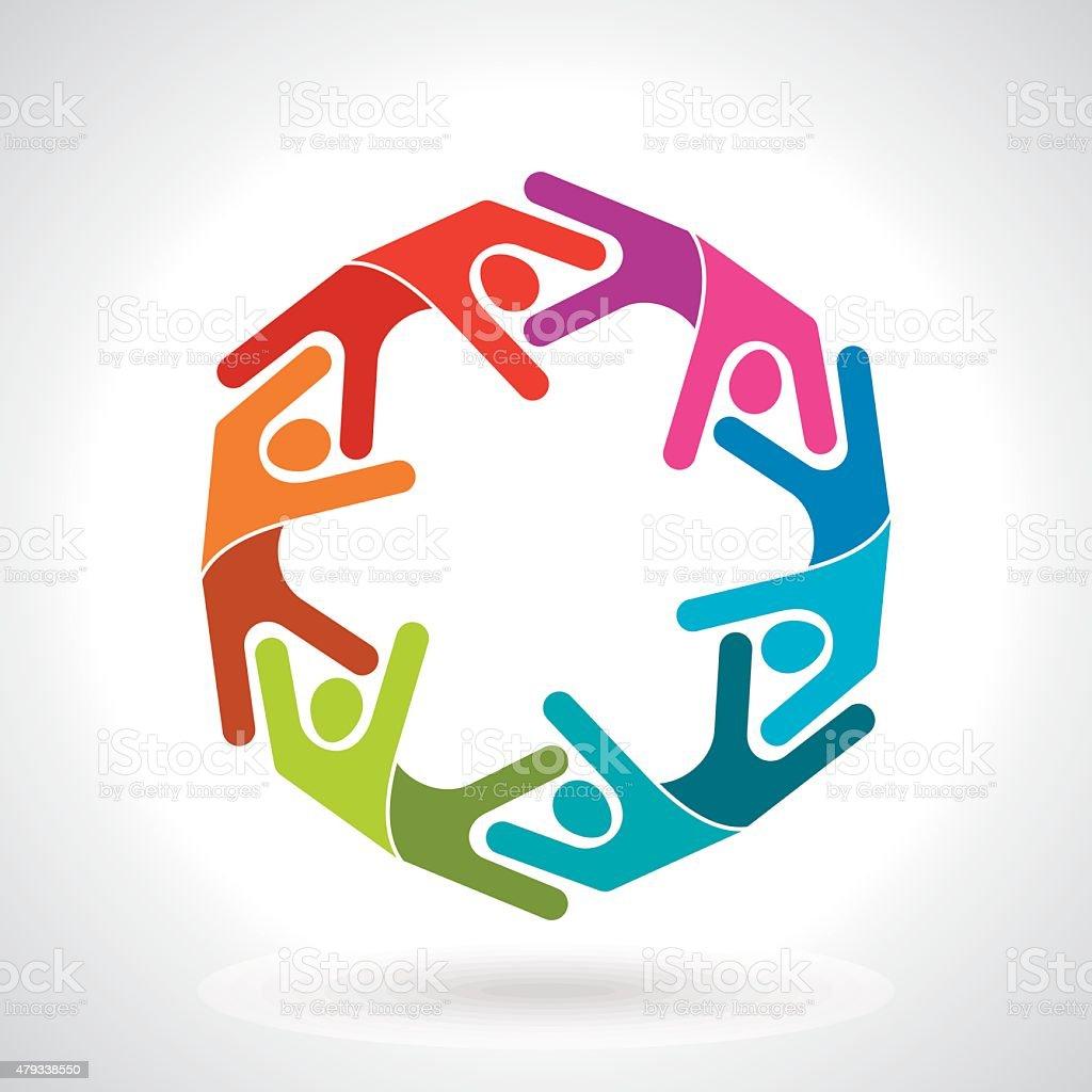 Teamwork, Group of People vector art illustration