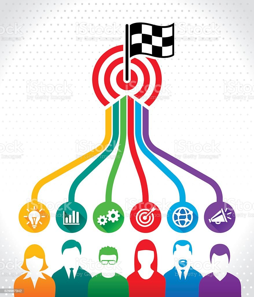 Teamwork has a common Target vector art illustration